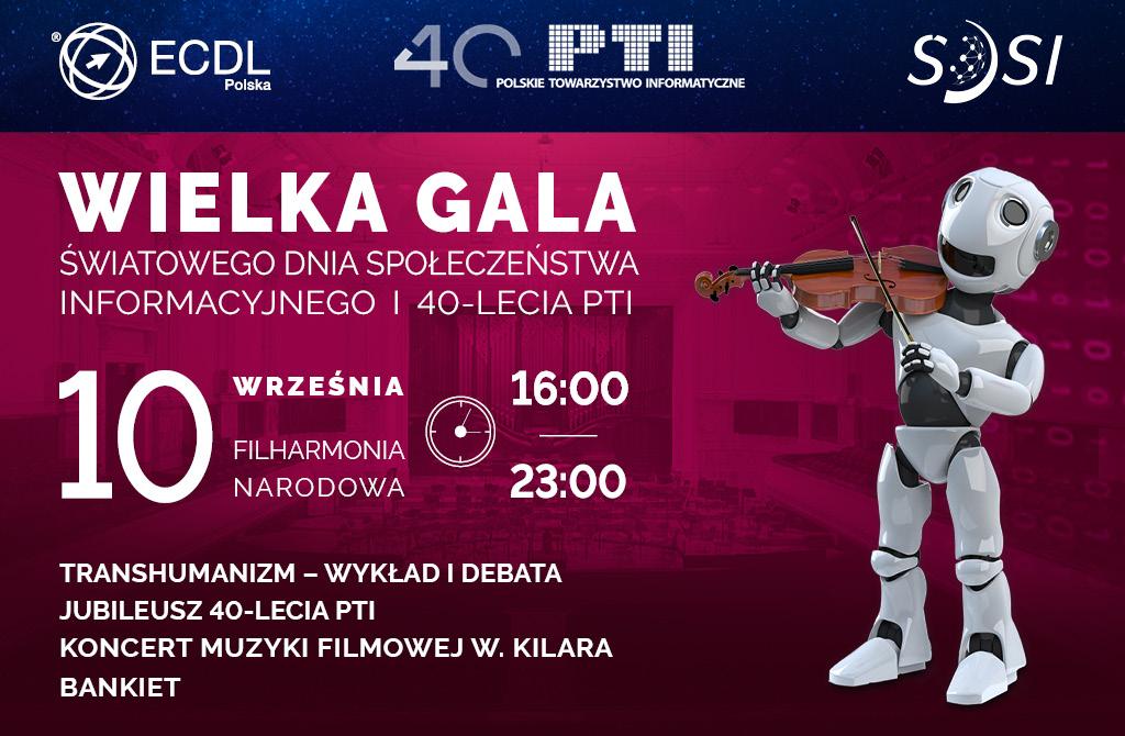 Wielka Gala plakat informacyjny wkolorach bordowo-granatowych zrobotem
